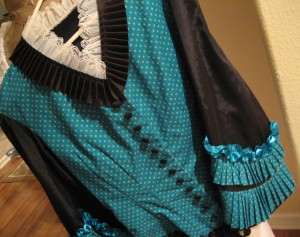 1873 Teal Bodice with pleats