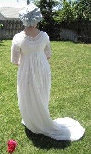 c.1800 White Regency Dress with train